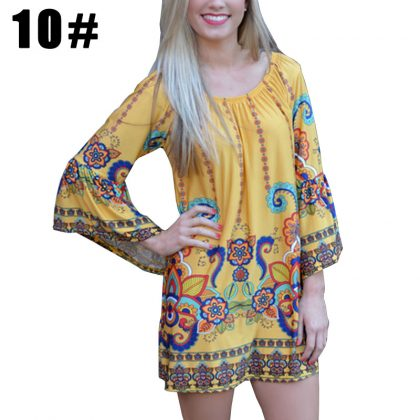 Boho Off Shoulder Beach Tunic Dresses Sundress