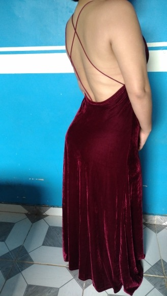 Burgundy Velvet Maxi Backless Dress