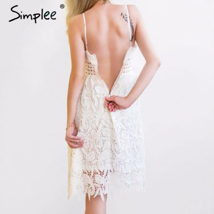 Deep V Padded Backless Lace Dress Lined Summer Dress