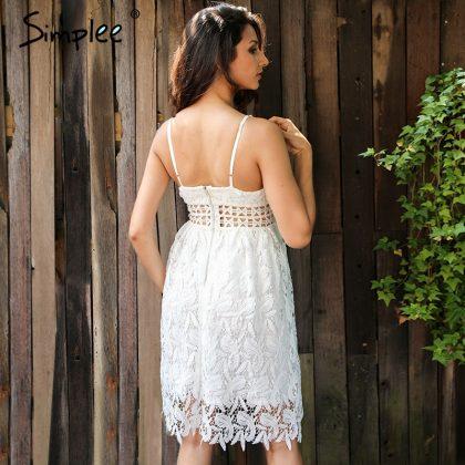 Deep V Padded Backless Lace Dress Lined Summer Dress