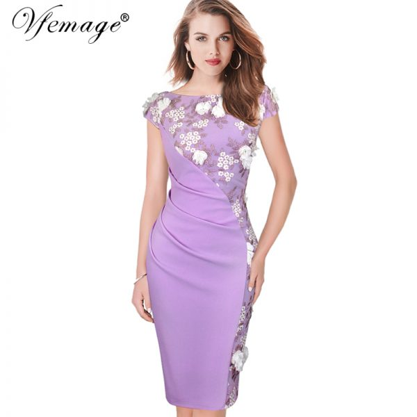 Elegant Embroidery Dresses Pencil Bodycon Dress