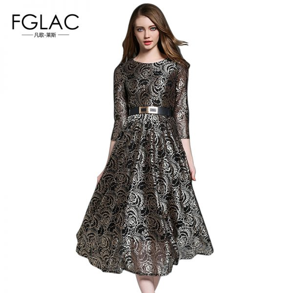Fashion Vintage Dress High Waist Long Dress