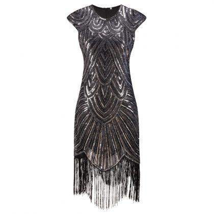 Flapper Gatsby Dresses Fringe Party Midi Dress