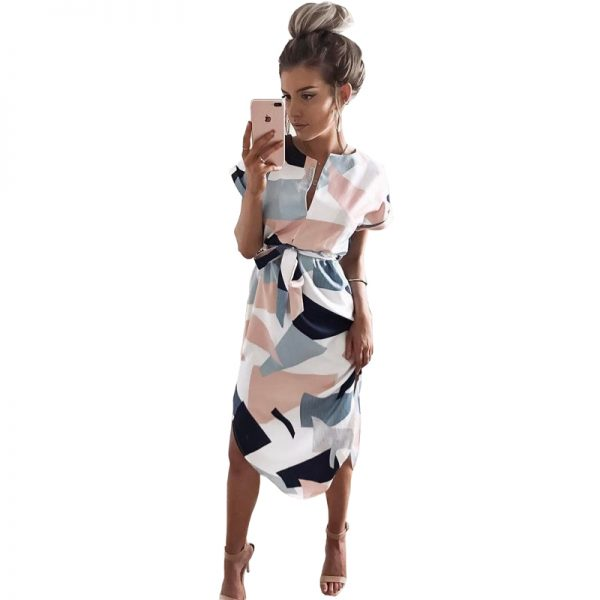 Geometric Print Dress Casual Sashes Robe Midi Dress