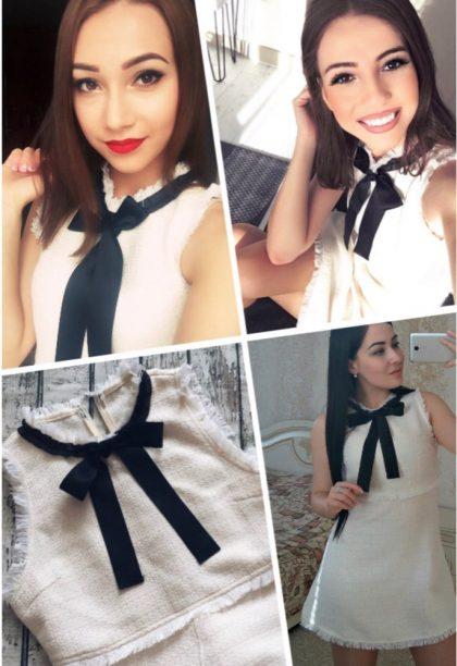 Ladies White Party Dresses Bow Tie Neck