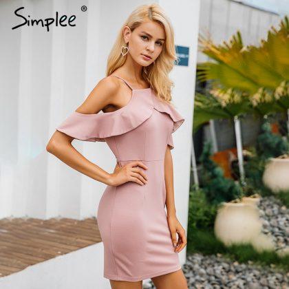 Ruffle Winter Dress Backless Split Bodycon Dress