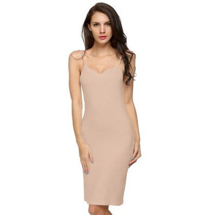 V Neck Solid Bottoming Straight Dress