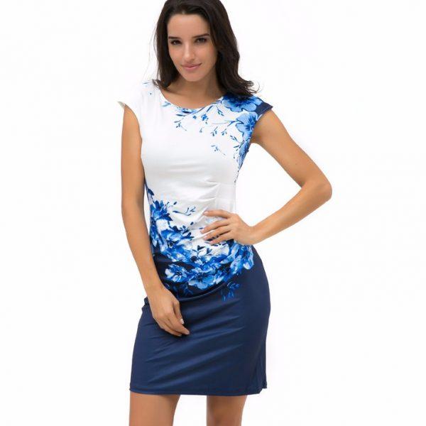 Women Bodycon Dress Sexy O-neck Print Dresses