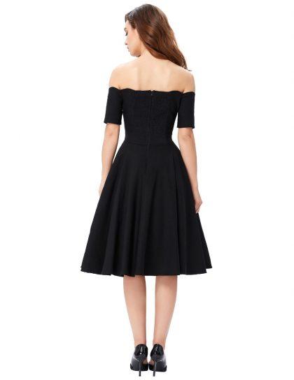 Women Dress Robe Vintage Off Shoulder Dress