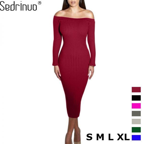 Women Dress Slim Bodycon Knitted Sweater