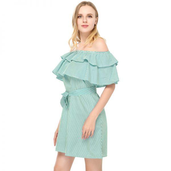 Women Sexy Fashion Dresses Straight Striped