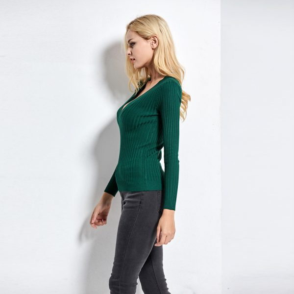 Deep V Pullovers Stretch Knitted Sweater