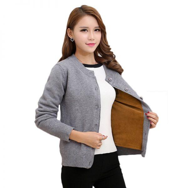Elegant Knitted Thick Warm Velvet Sweater Cardigans
