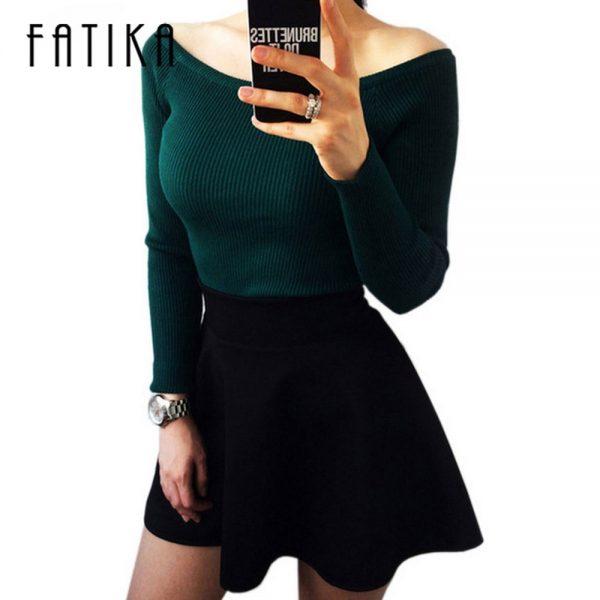 Basic Women Sweater Off Shoulder Pullover
