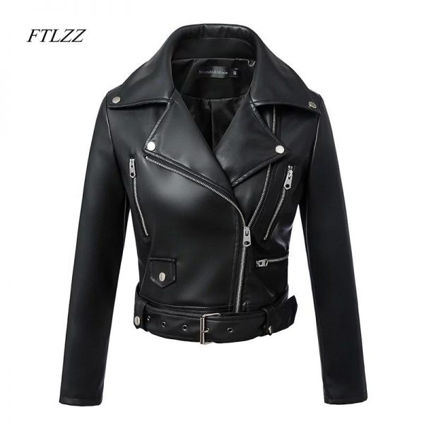 Black Faux Leather Jackets Zipper Basic Coat
