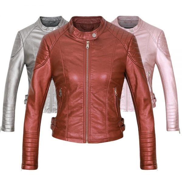 Faux Leather Biker Jacket Motorcycle Leather Coat