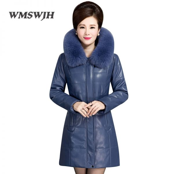 Fur Collar Hooded Leather Jacket PU Leather Coat