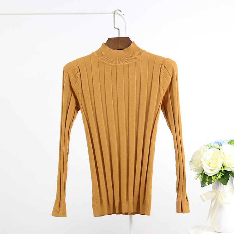 Knitted Turtleneck Sweater Striped Pullover