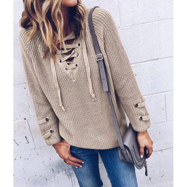 Lace-up Sweater Striped Bandage Cross Ties Pullover
