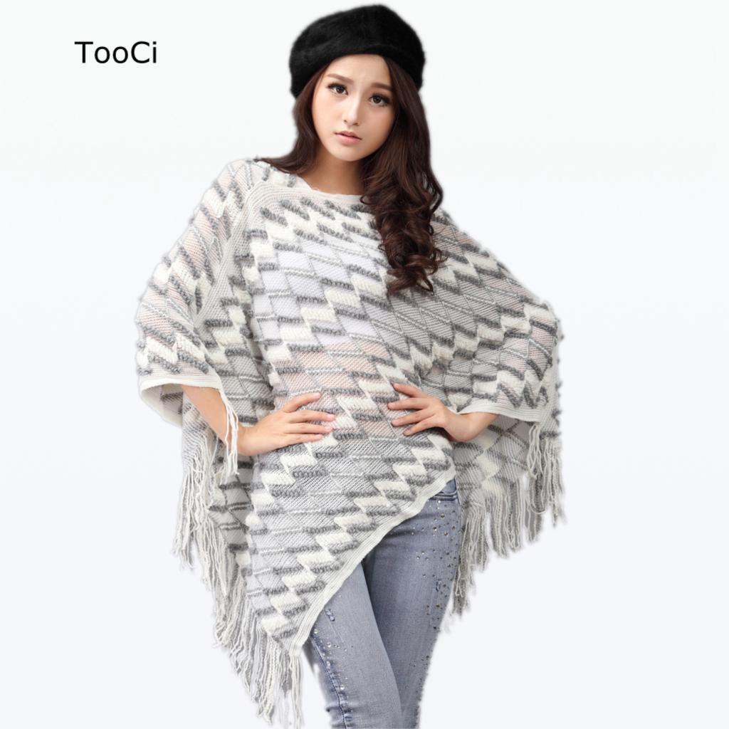 Ladies Tassels Poncho Long Knitted Pullovers