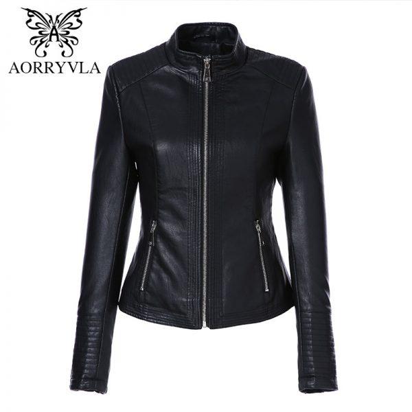 Leather Jacket Women Washed PU Leather Coats