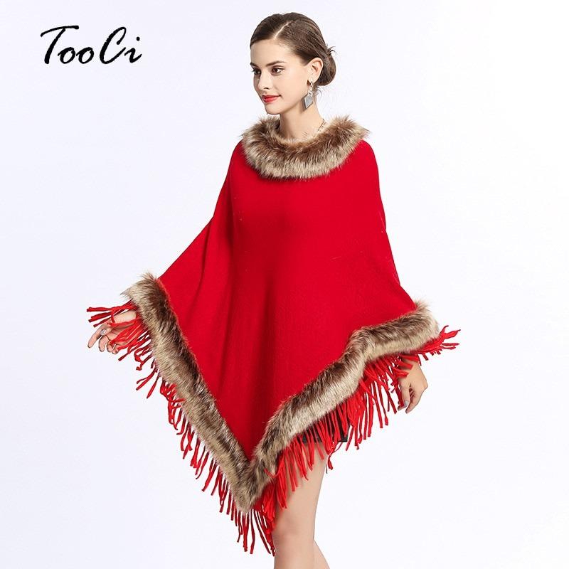Wedding Poncho Shawl Fox Fur-Collar Knitted