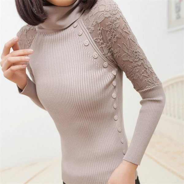 Women Sweater Turtle Knitted Pullover
