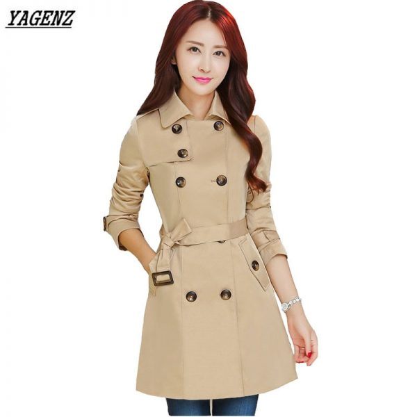 Double Breasted Medium Long Trench Coat