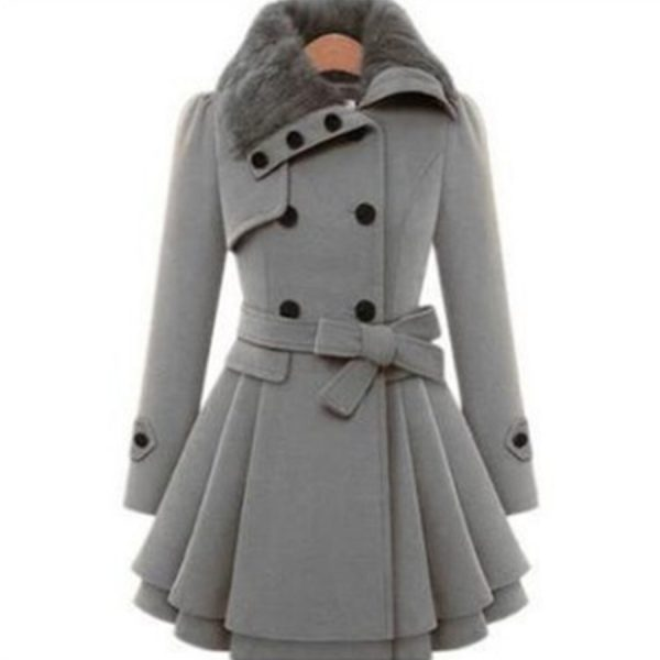 Fashion Women Coat Woolen Neck Jacket