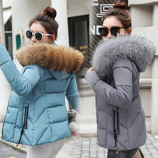 Female Down Jacket Large Faux Fur Collar Coat
