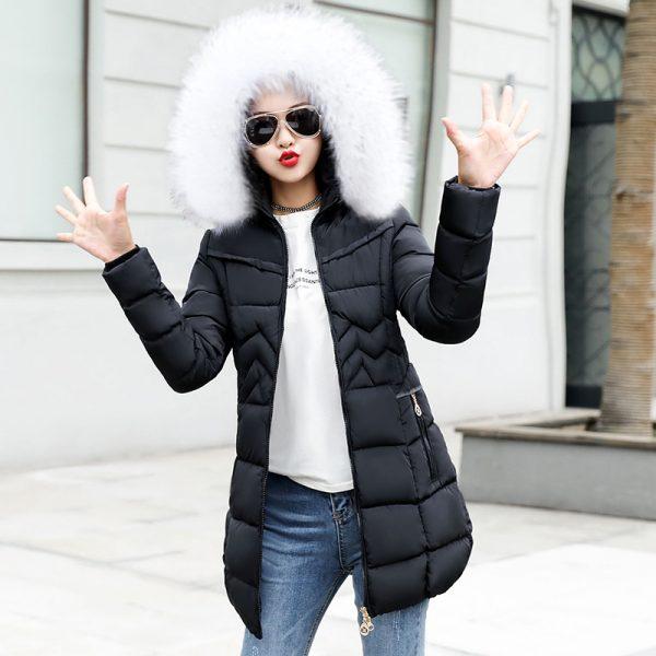 Female Long Jacket Winter Coat Fake Fur Collar