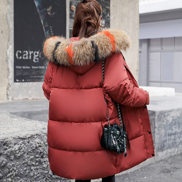 Fur Hoodie Long Down Jacket Cotton Parkas