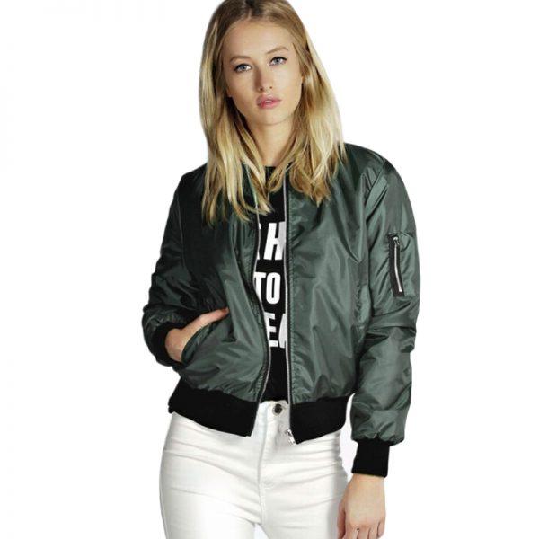 Lady Thin Jackets Fashion Basic Bomber Jacket