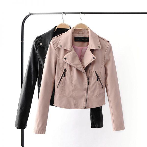 Motorcycle Faux Soft Leather Jackets Female Coat