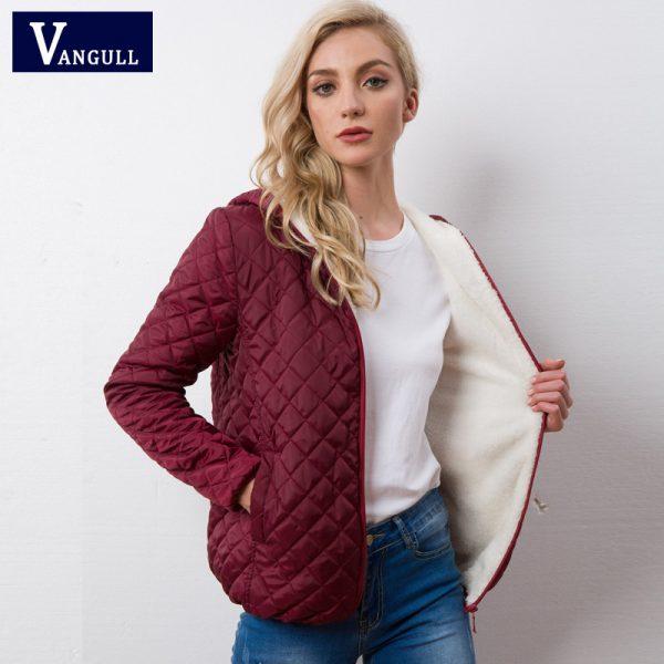 Velvet Lamb Hooded Coats Cotton Winter Jacket