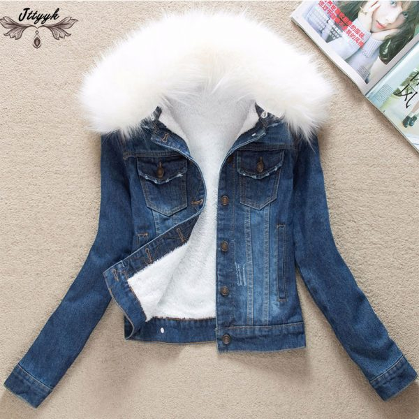 Winter Fur Collar Denim Jackets Parka Outerwear