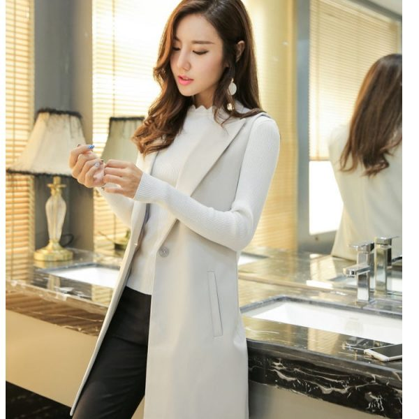 Women's Sleeveless Suit Fashion Long Vest