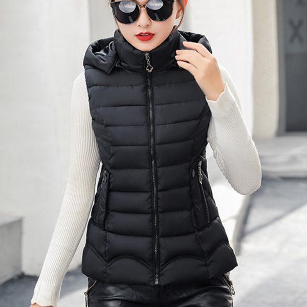 Women Winter Vest Hooded Sleeveless Parkas
