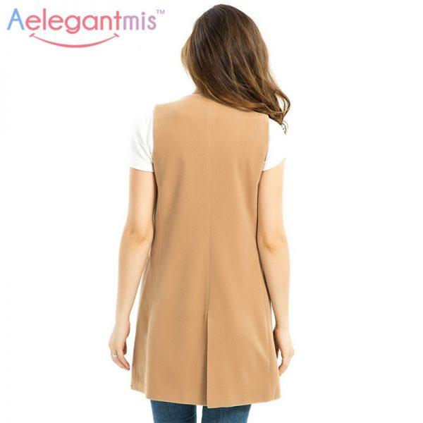 Wool Blend Vest Waistcoat Lady Office Wear