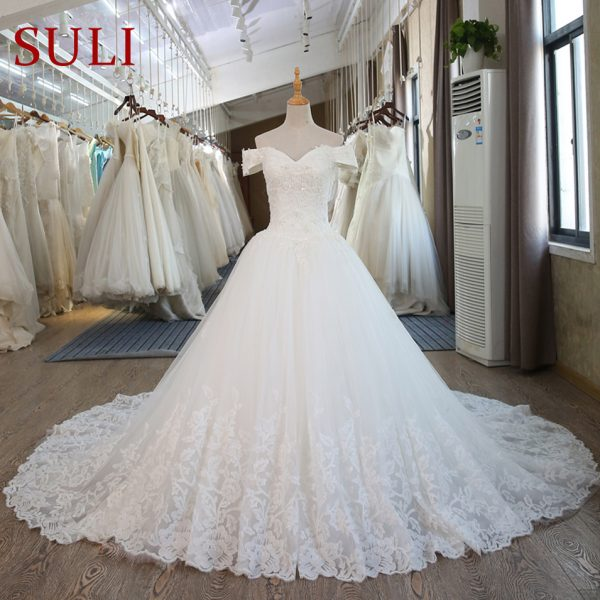 Ball Gown Bridal Dresses Muslim Lace Wedding Dress