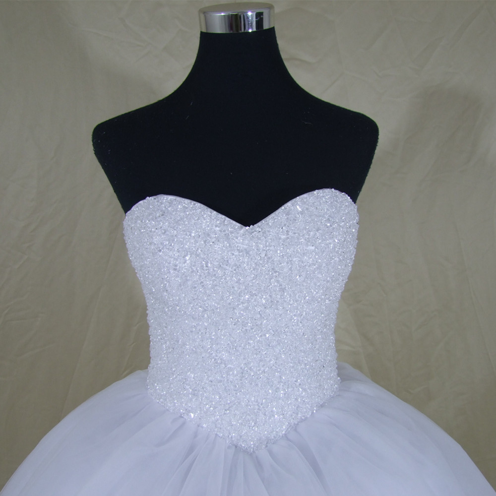 Luxury Crystals White Ball Gown Wedding Dress