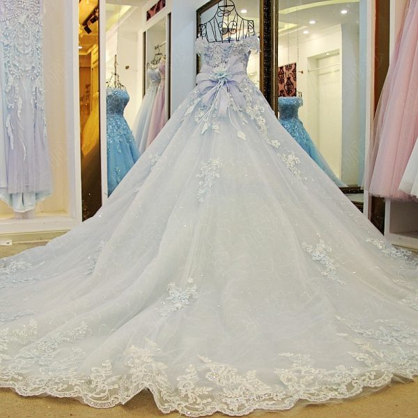 Luxury Flowers Appliques Glitter Tulle Wedding Dress