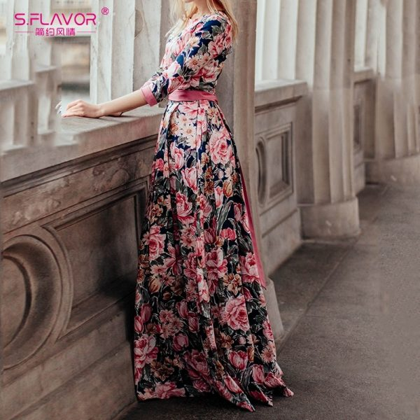 Bohemian Printing Long Dress Elegant Casual Vestidos