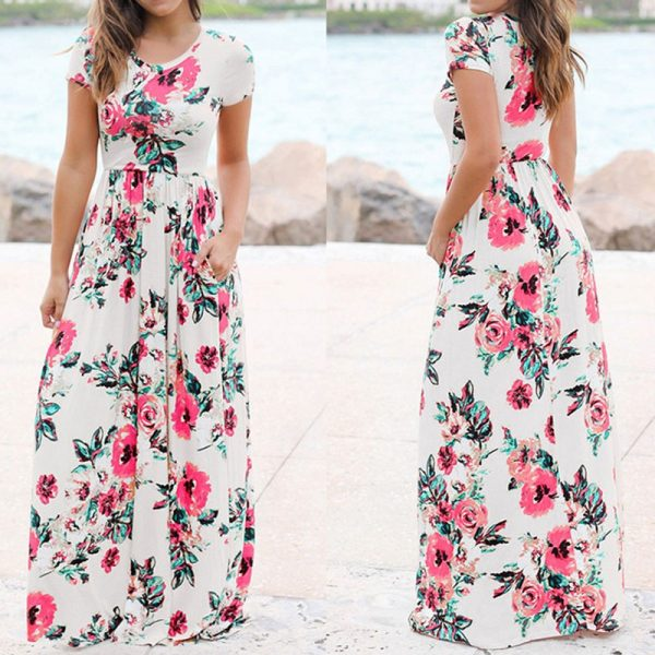 Long Maxi Dress Floral Print Boho Beach Dress