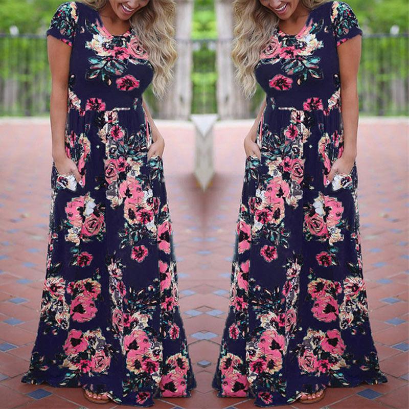 Long Maxi Dress Floral Print Boho Beach Dress