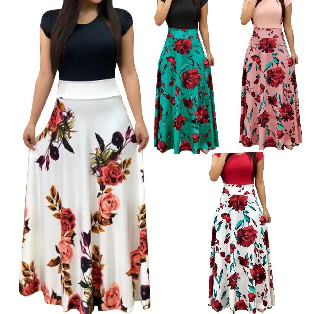 Women Dress Floral Printed Dresses Long Maxi Dress