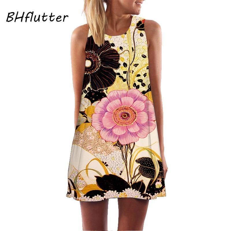 Women Dress Print Sleeveless Summer Dress