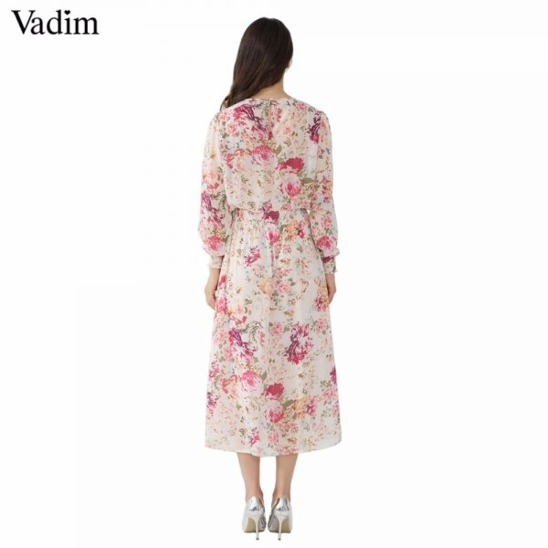 Women Floral Chiffon Dress Mid Calf Dresses