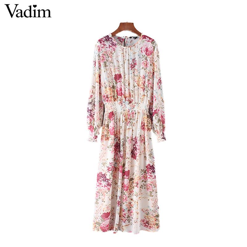 Women Floral Chiffon Dress Mid Calf Dresses