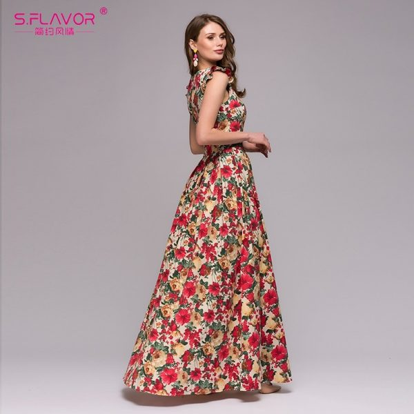 Women Printing Party Dress Sexy Long Vestidos